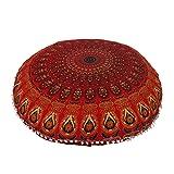 "Anokhiart 32"" Cotton Round Floor Pillow Cover Red"
