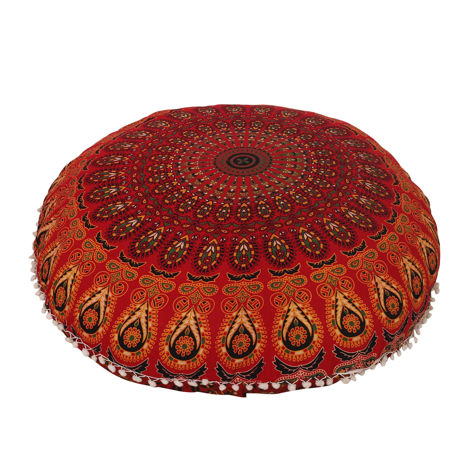 32'' Cotton Round Floor Pillow Cover Red Indian Mandala Pillow Cover Cushion Cover Ottoman Pouf Cover