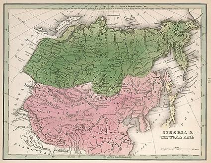 World Atlas Map Of Asia.Amazon Com 1838 World Atlas Siberia Central Asia A