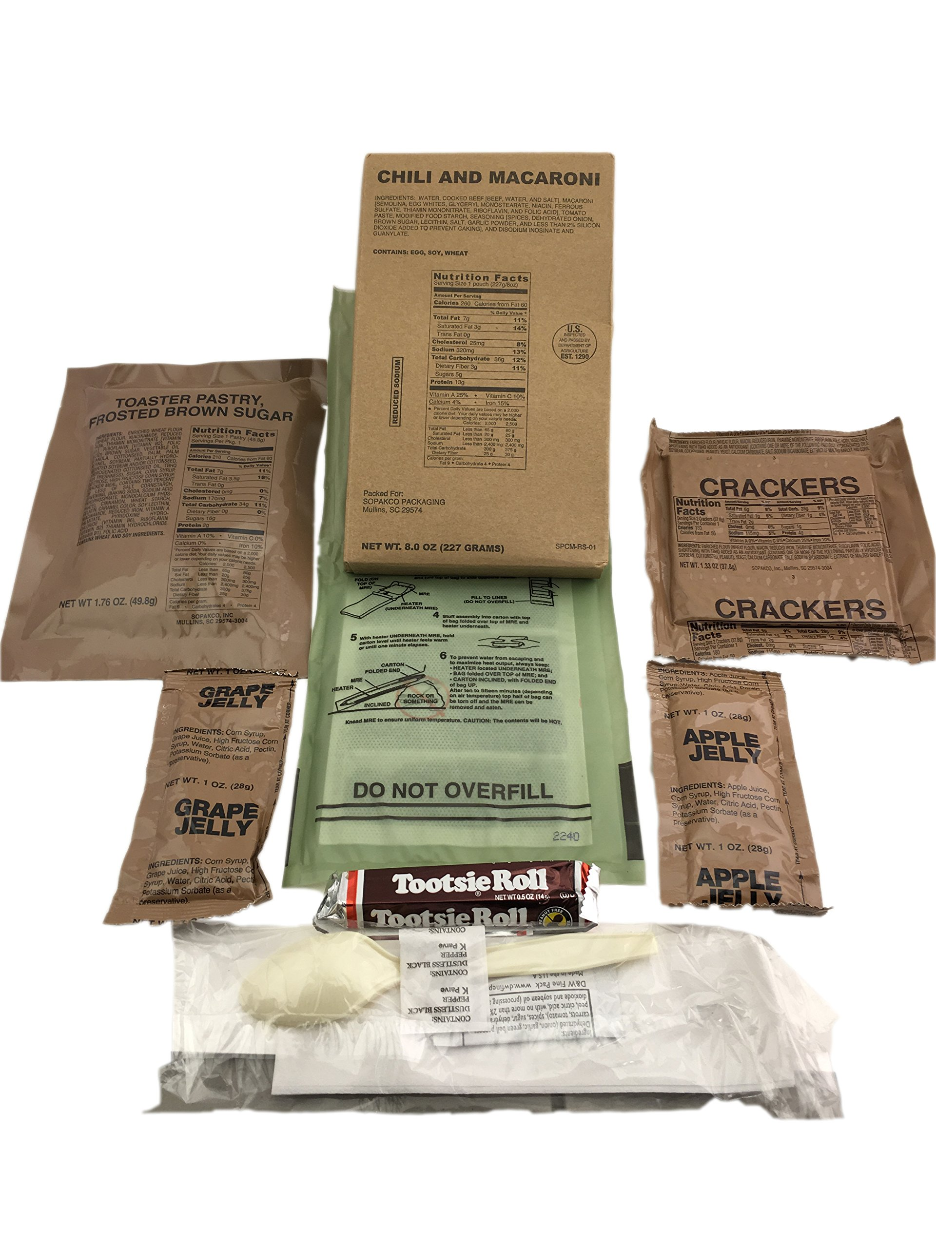 Pack of 10 SOPAKCO Sure-Pak MRE Reduced Sodium Emergency Ration Meals - Ready to Eat Variety Factory Sealed by Sure-Pack (Image #6)