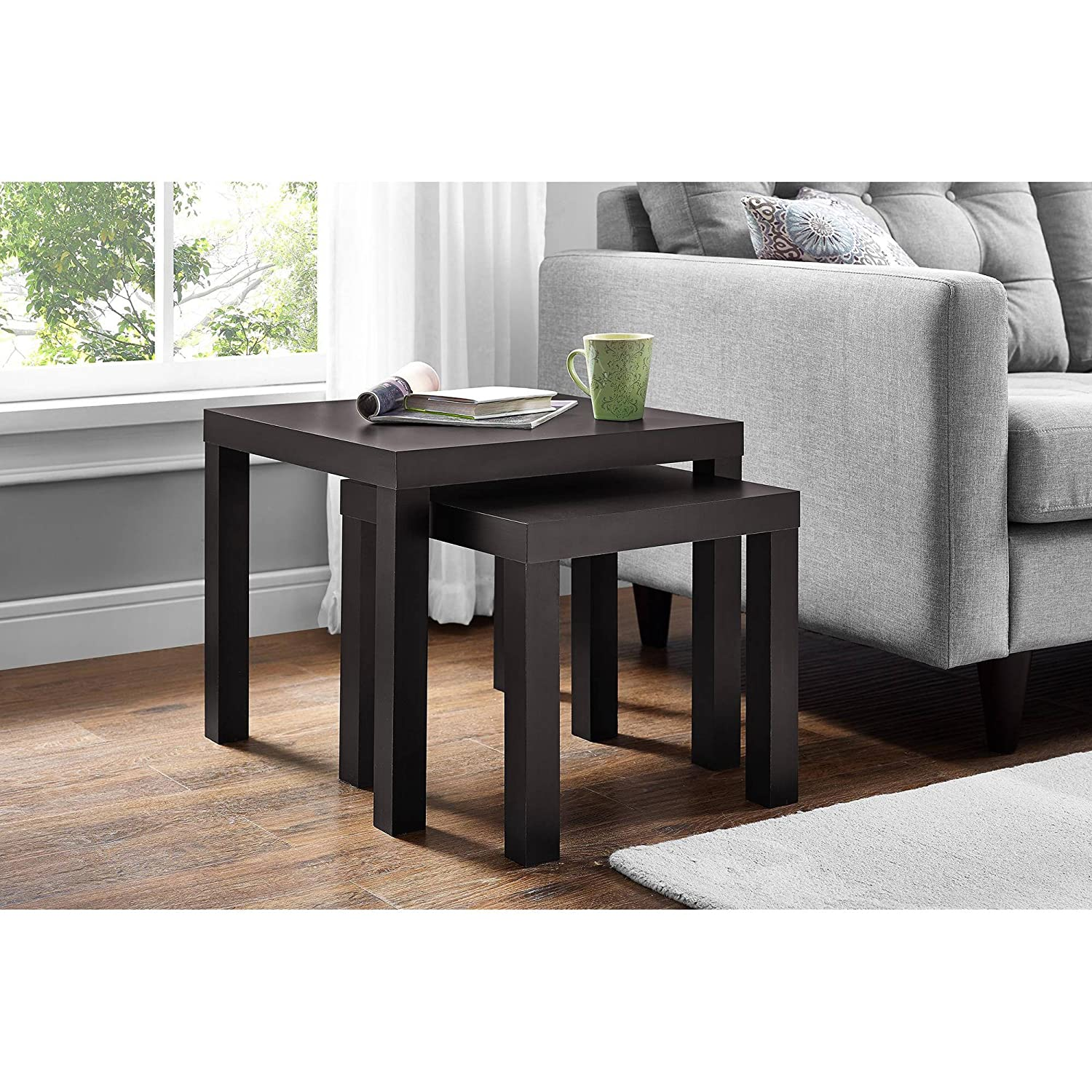 Amazon com parsons living dining room side nesting coffee tables 2 piece table set dark brown espresso kitchen dining
