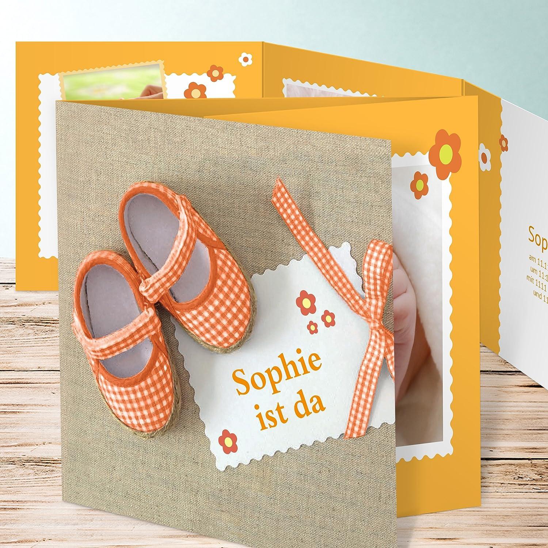 Geburtskarten Zwillinge Schühchen 15 Karten Doppelklappkarte 145x145 Inkl Weiße Umschläge Orange