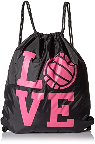 Amazon.com: Large Black Volleyball Love Drawstring Gym Bag: Home ...
