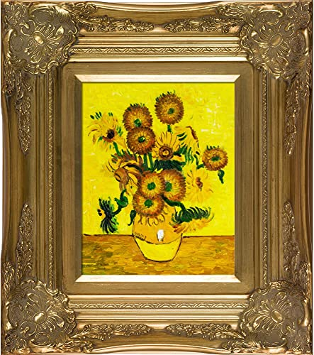 overstockArt Vase with Fifteen Sunflowers Framed Oil Reproduction of an Original Painting by Vincent Van Gogh