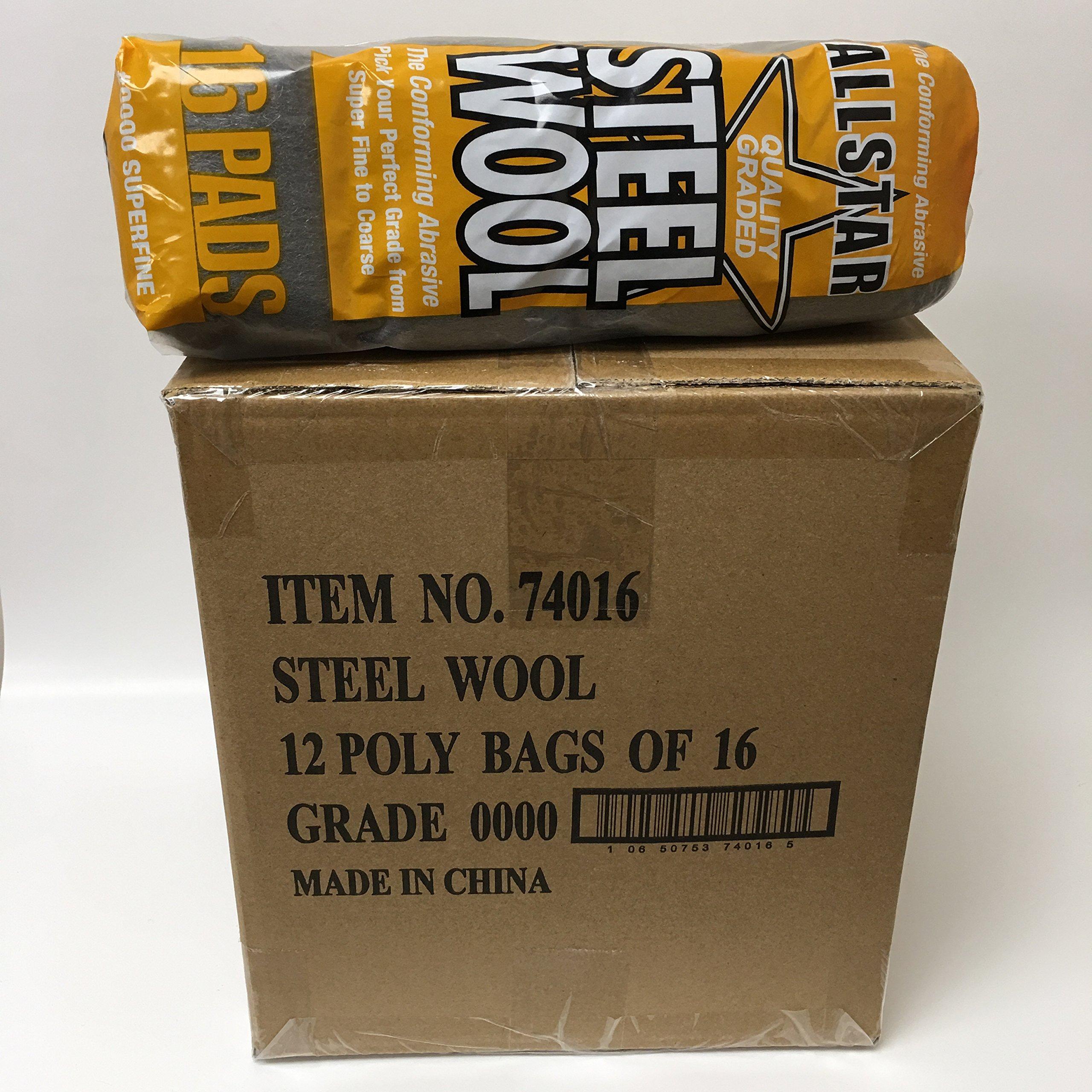 Allstar Steel Wool #0000 Super Fine Grade (12 Packs of 16 Pads)