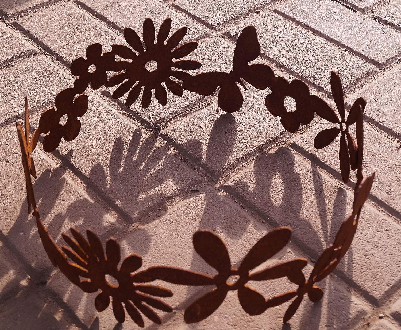 Edelrost Dekoring mit Blüten und Schmetterlingen 30cm Tischdeko Garten