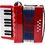 Classic Cantabile Bambino Rosso Kinder Akkordeon, Rot (ab 3 Jahre, 17 Noten Tasten, 8 Bässe, einstellbare Schulter-Trageriemen)