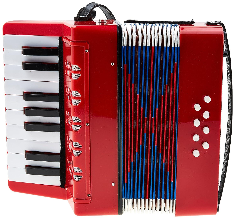 Classic Cantabile Bambino Rosso Kinder Akkordeon, Rot (ab 3 Jahre, 17 Noten Tasten, 8 Bässe, einstellbare Schulter-Trageriemen) 8 Bässe 00037968