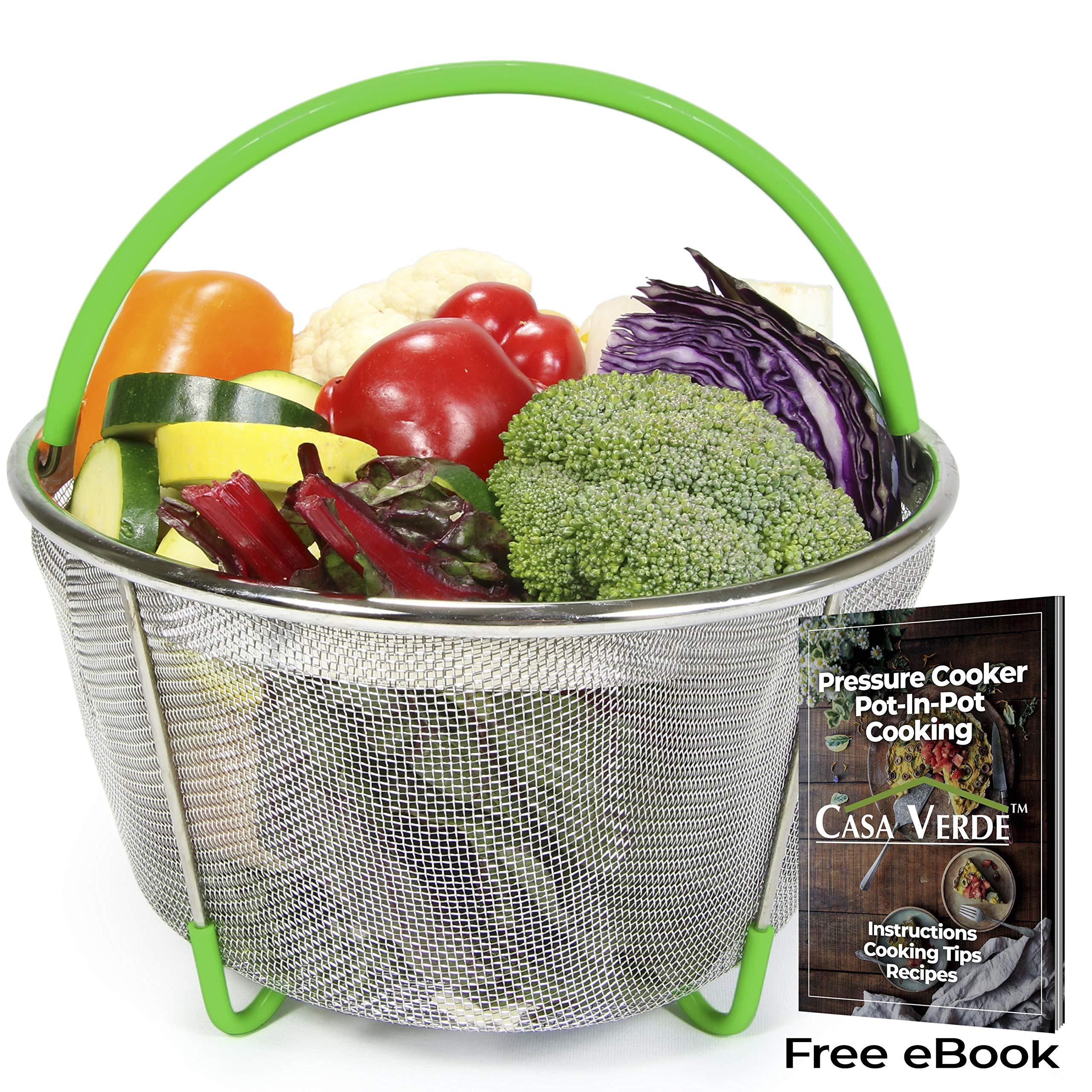 Casa Verde Instant Pot Steamer Basket Accessories, Egg, Vegetable Steamer Insert for 6/8 Qt Instant Pot Pressure Cooker, Stainless Steel Strainer/Colander, Silicone Covered Handle and Legs