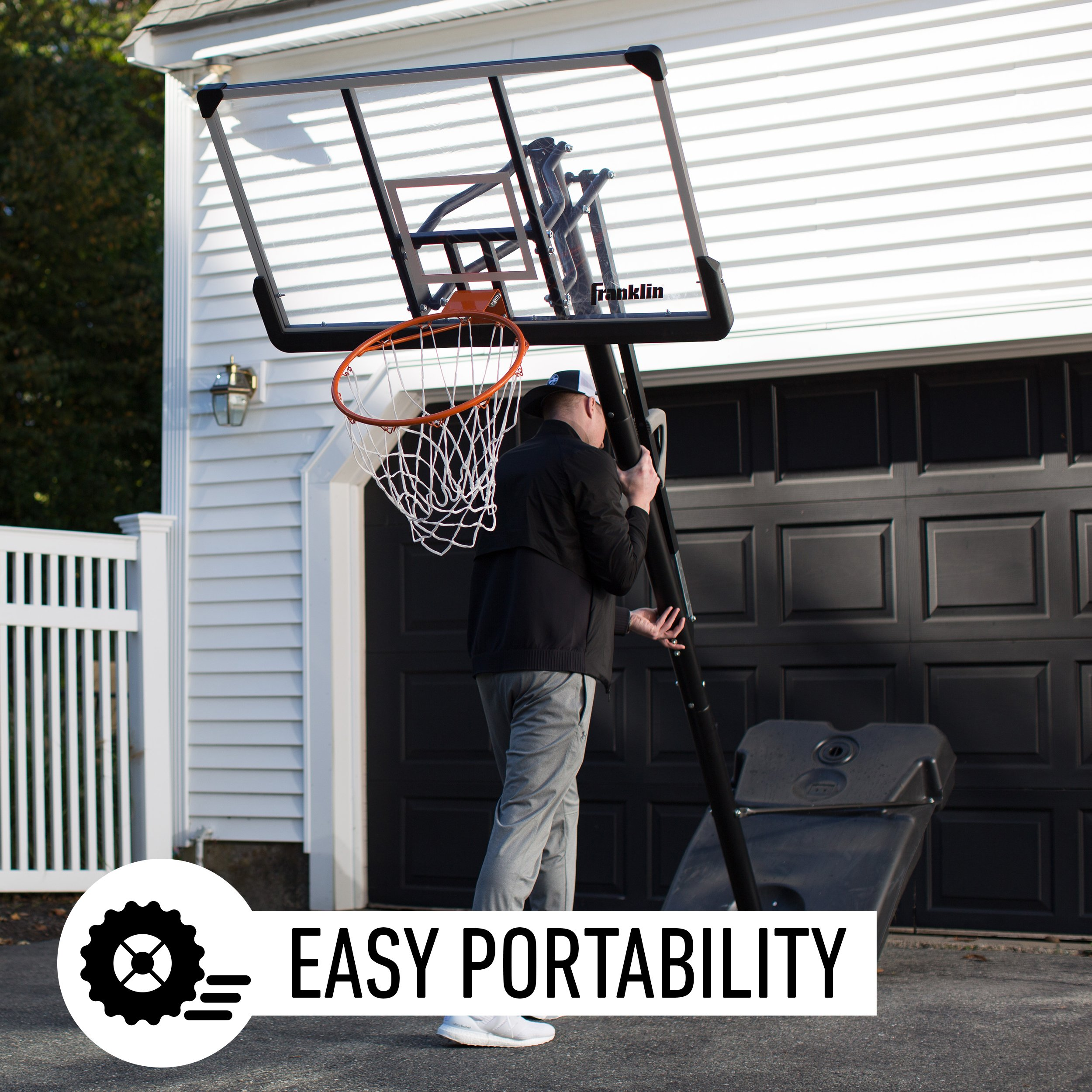 Franklin Sports Portable Basketball Hoop – Authentic Street Basketball Hoop for Adults and Kids – Adjustable Basketball Hoop with Rolling Mechanism – Play Basketball in Your Driveway by Franklin Sports (Image #4)
