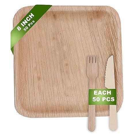 """Platos de Palma Biodegradable (8"""" x 8"""") Set de Cubertería de Madera"""