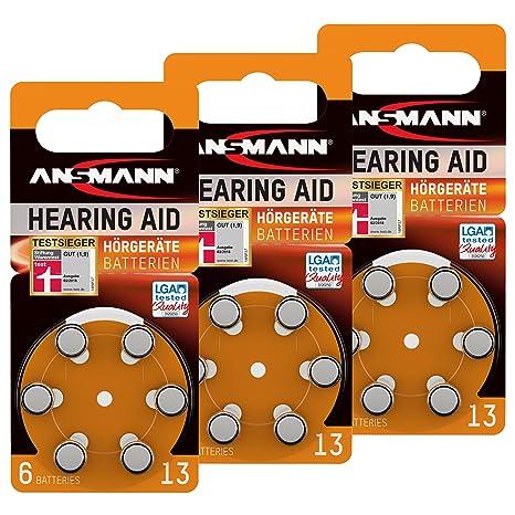18 ANSMANN Pilas para audífonos 13 Zinc Aire 1,4 V PR48 aza13 Naranja 5013243