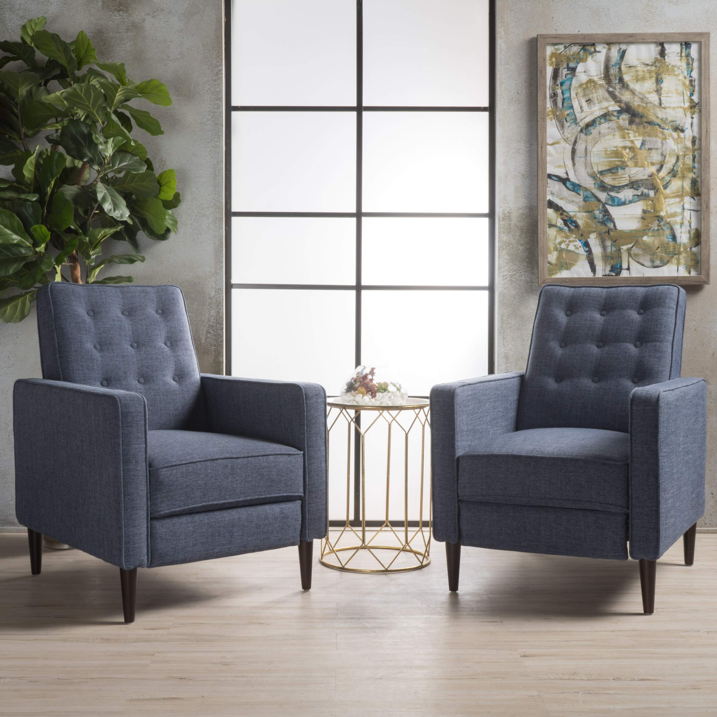 Christopher Knight Home Marston Mid Century Modern Fabric Recliner (Set of 2) (Dark Blue) by Christopher Knight Home