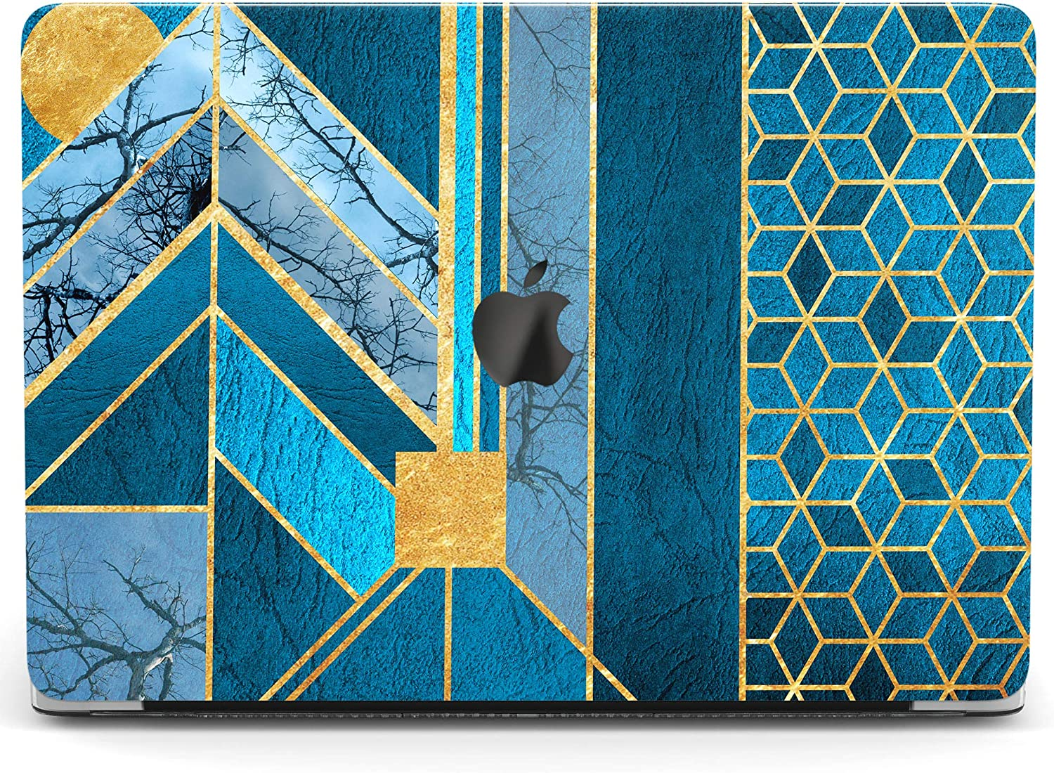 Wonder Wild Case Compatible with MacBook Air 13 inch Pro 15 2019 2018 Retina 12 11 Apple Hard Mac Protective Cover 2017 16 2020 Plastic Laptop Print Blue Geometry Tree Abstract Texture Art Mosaic