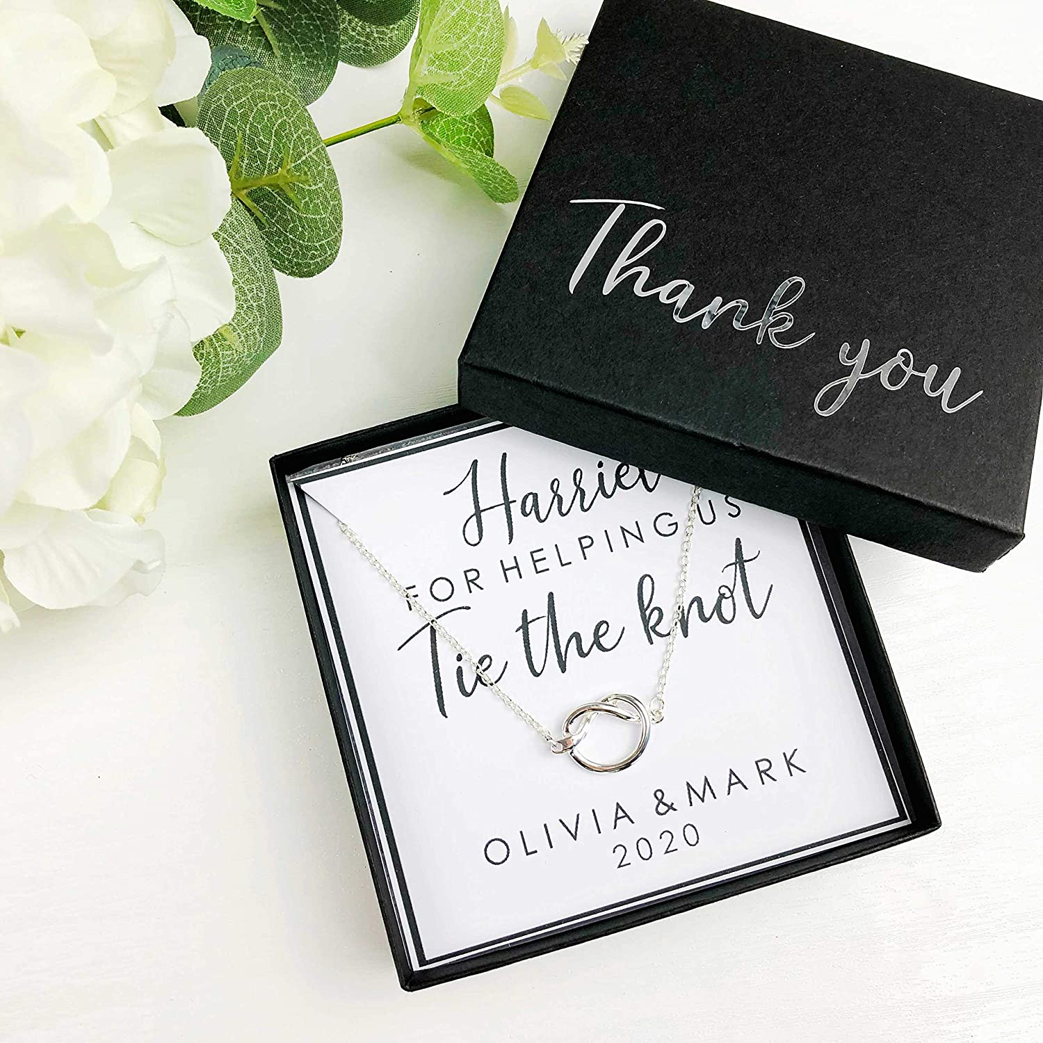 PERSONALISED BRIDESMAID GIFT THANK YOU FOR HELPING US TIE THE KNOT NECKLACE BOX