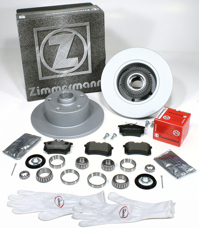 Autoparts-Online Set 60008557 Zimmermann Bremsscheiben 245 mm Coat Z/Bremsen mit fertig montierten ABS Sensorringen + Bremsbelä ge + Radlager fü r Hinten/fü r die Hinterachse