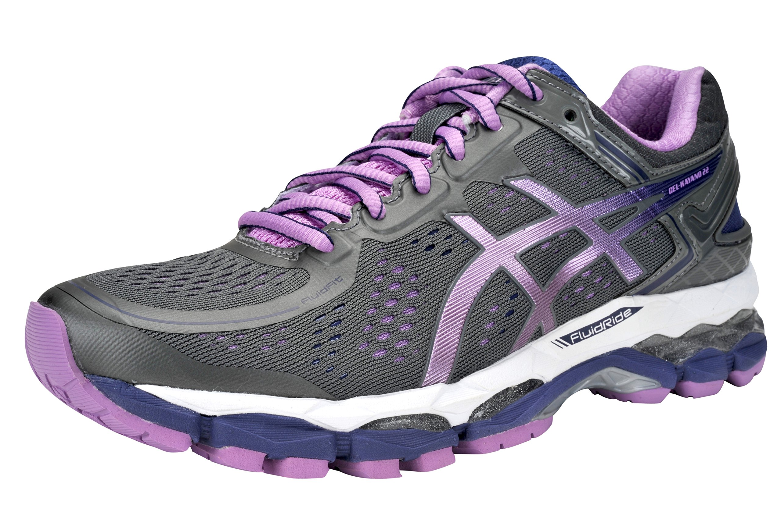 asics women 39 s gel kayano 22 running shoe 9 5 b m us gunmetallviolet cobalt 0889436507723. Black Bedroom Furniture Sets. Home Design Ideas