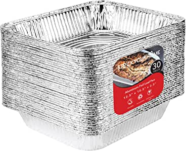 Aluminum Pans 9x13 Disposable Foil Pans (30 Pack) - Half Size Steam Table Deep Pans - Tin Foil Pans Great for Cooking, Heating, Storing, Prepping Food