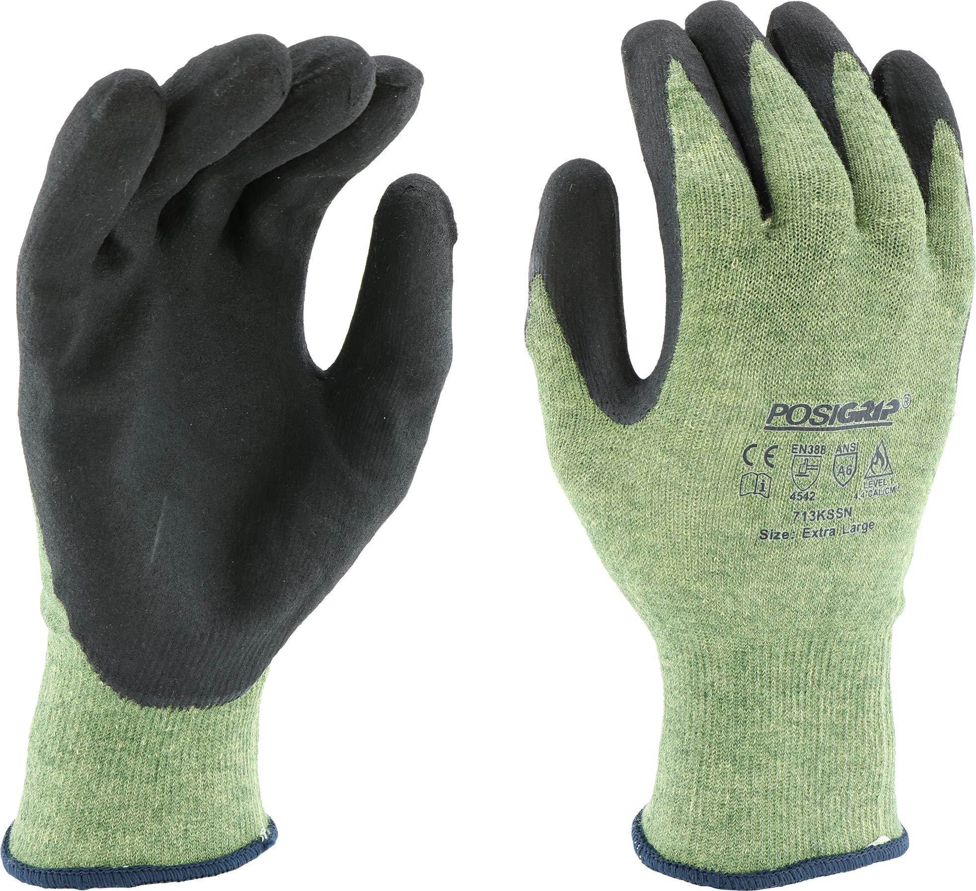 West Chester 713KSSN/XL 13 Gauge Green Kevlar/Steel Shell W/Black Micro Foam Nitride Coating. Antibacterial/Dmf Free Dozen
