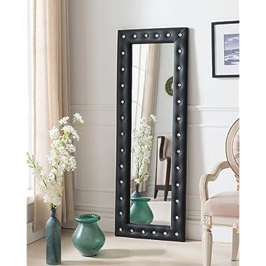 Kings Brand Furniture Modern Upholstered Tufted Standing Floor Mirror, Black Vinyl