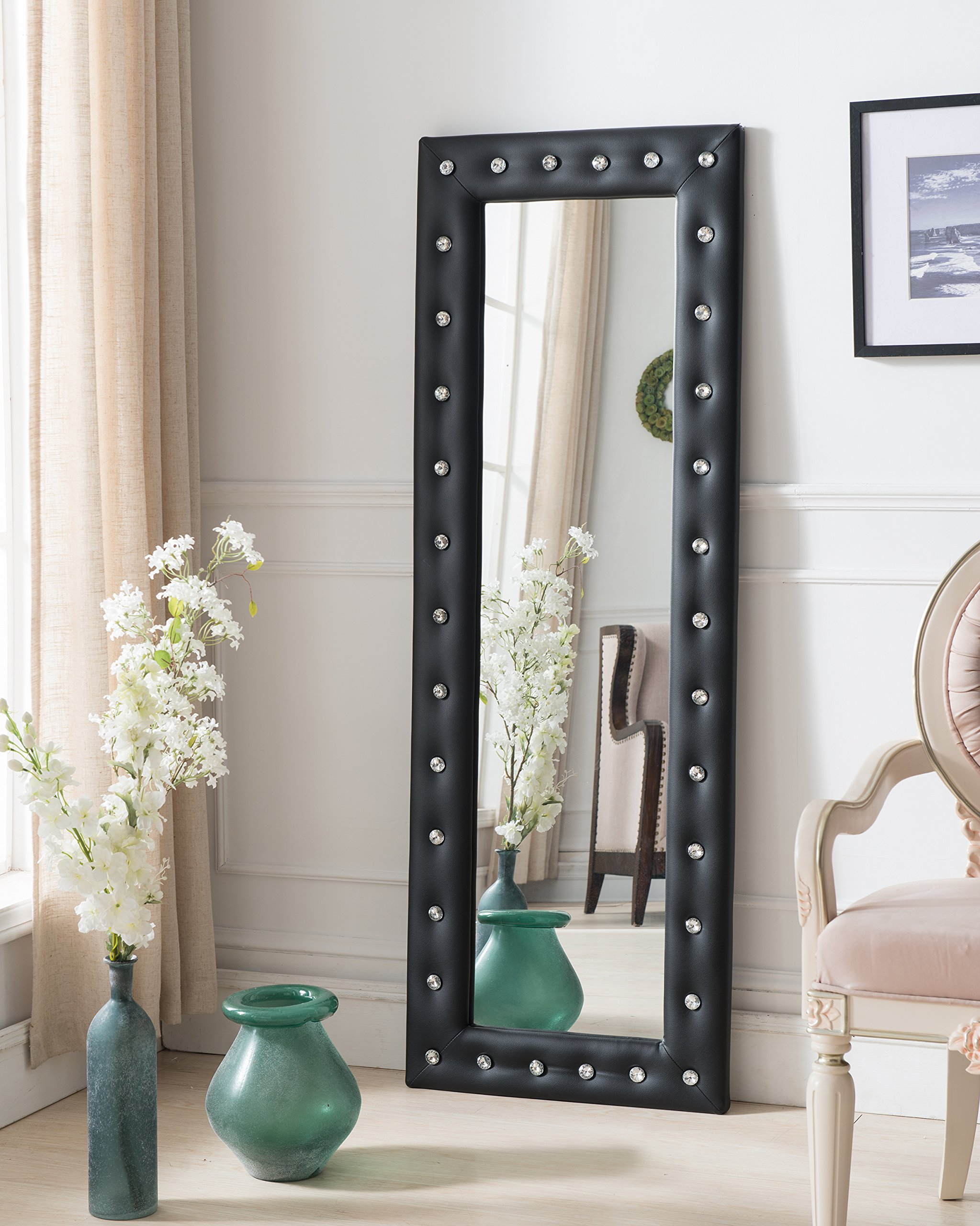Kings Brand Black Modern Upholstered Tufted Standing Floor Mirror by Kings Brand Furniture