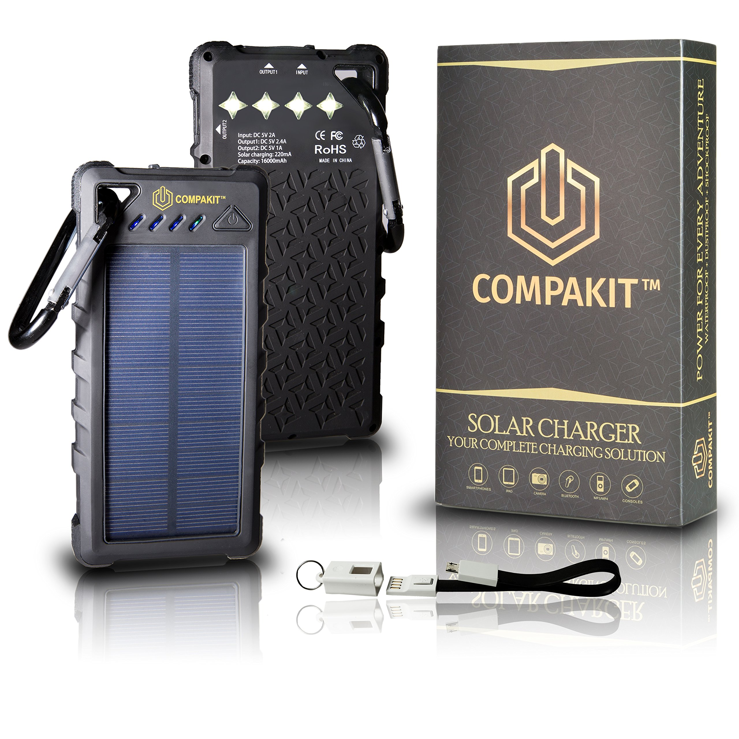Compakit Solar Phone Charger Huge Capacity 16000 mAh Dual USB Power Bank   IP67 Waterproof with 4 LED Flashlight, Universal Compatibility Cell Phone Battery Pack for Men & Women