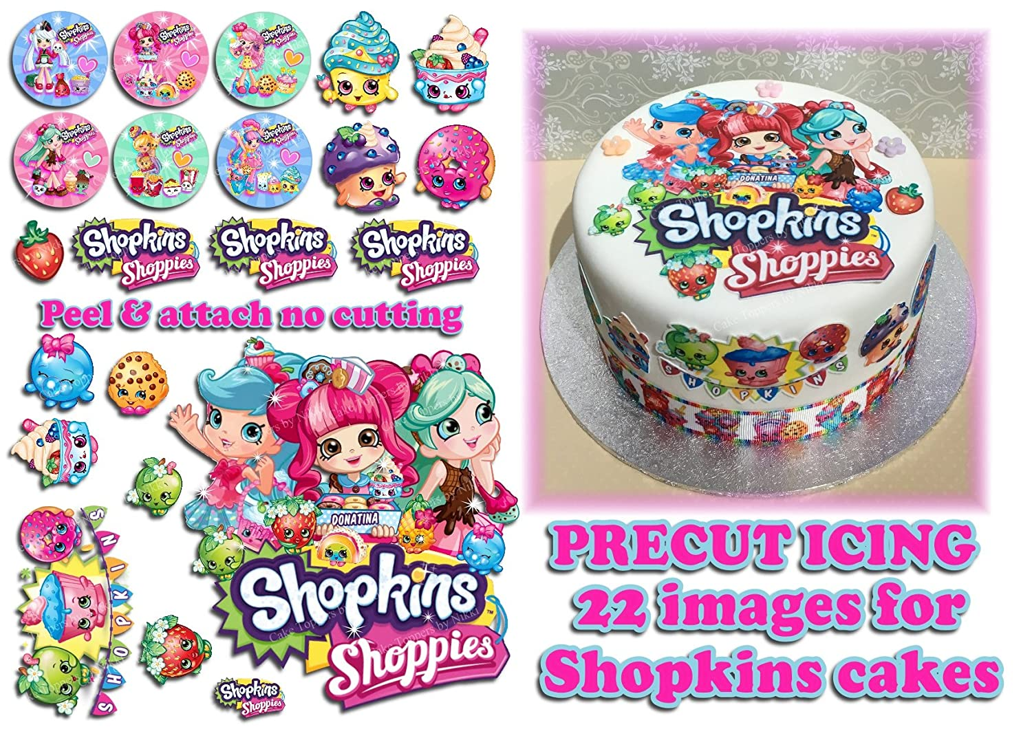Precut Edible Icing SHOPKINS SHOPPIES Icing Cake Toppers 22