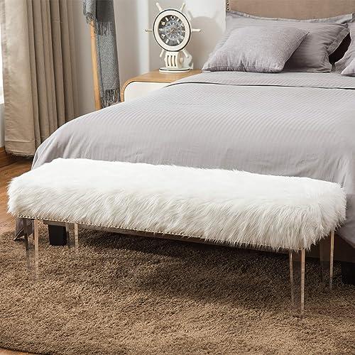Andeworld White Fur Ottoman Bench