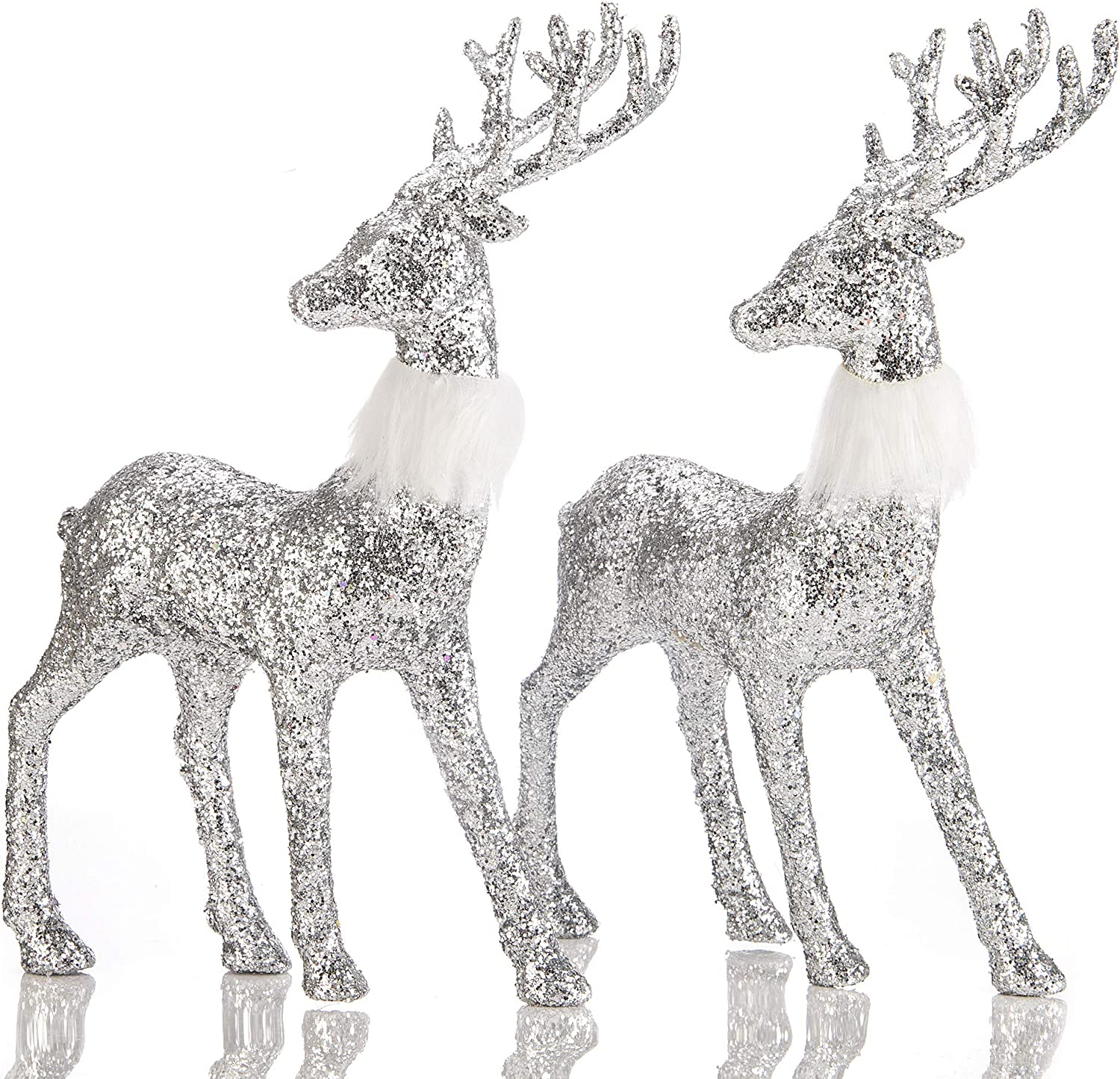 blitzlabs Christmas Silver Sequined Glitter Reindeer Winter Decor Stag Deer Ornament Figurines Freestanding Indoor Decorative for Tabletop , Kitchen ,Mantle, Shelf ,Desk ,Office etc,Set of 2