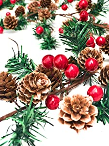 Christmas Garland | Pine Greenery | Christmas Decorations | Winter Home Decor (6ft Pine Berry Garland)