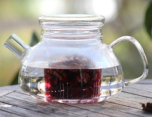 Tetera té Jarra Jarra Jarra Té Tea Cristal térmico para bebidas calientes y frías, Kanne5, 800ml