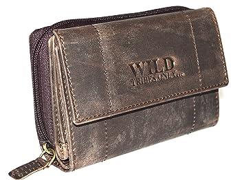 375320984ac94 Vintage Portemonnaie Damen Wild Leder Geldbeutel in 6 Farben mit RFID (Braun )