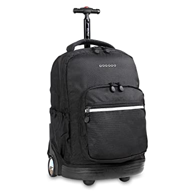 J World New York Sunrise Rolling Backpack Black One Size