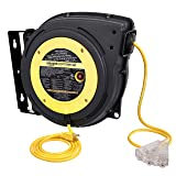 AmazonCommercial Extension Cord Reel Retractable Heavy Duty 16AWG x 50' Glow Strip Cable and LED Light-Up Triple Tap Connecto