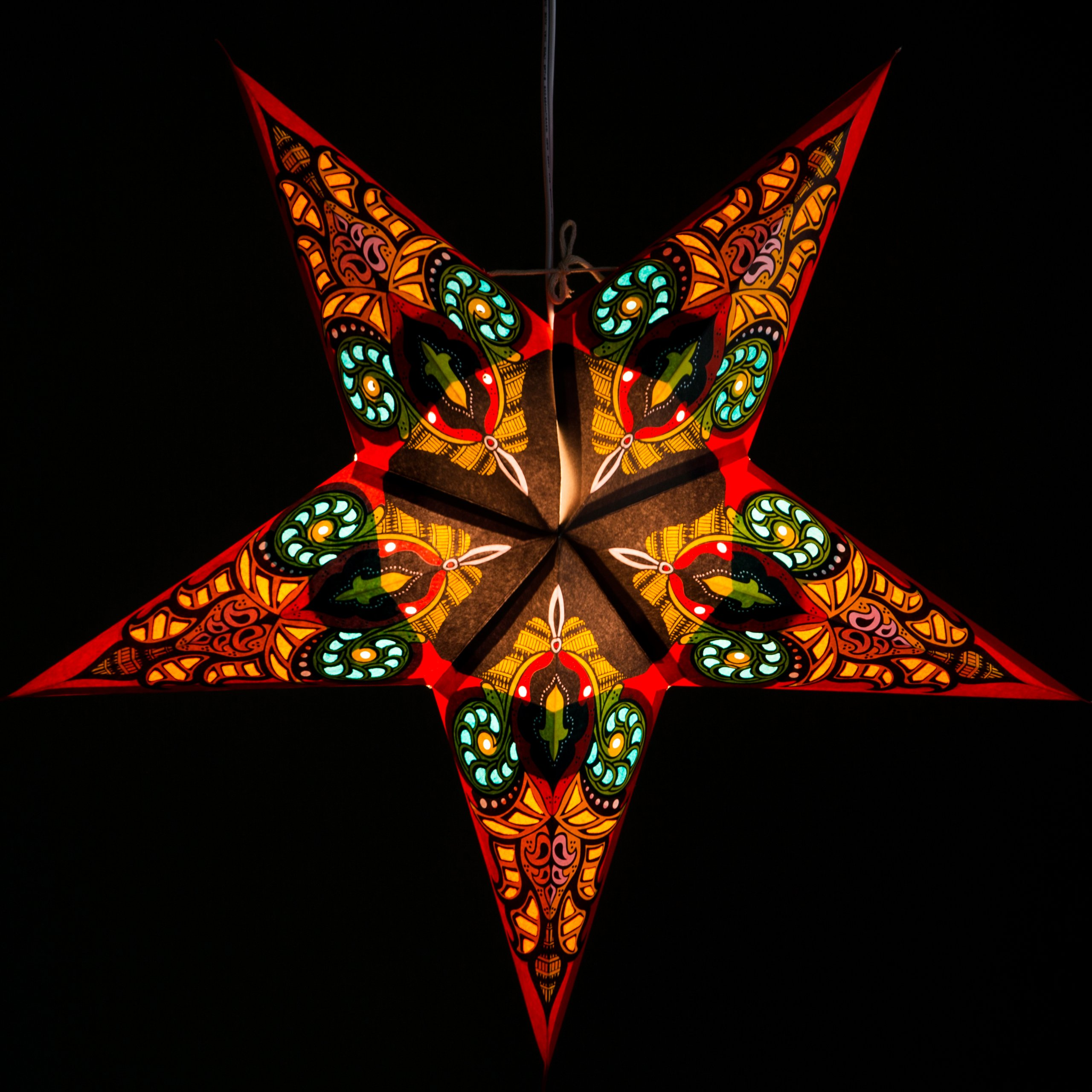 Red Mango Paper Star Lantern with 12 Foot Power Cord Included by Hometown Evolution, Inc. (Image #3)