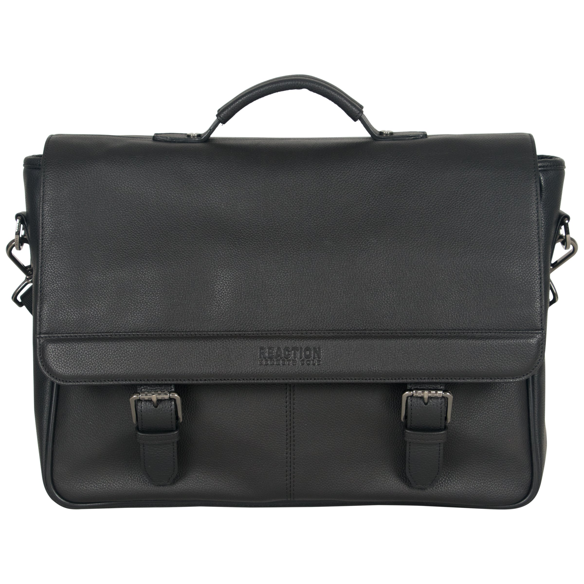 Kenneth Cole Reaction Leather Single Compartment Flapover 15.0'' Computer Business Case Laptop Briefcase, Black, One Size