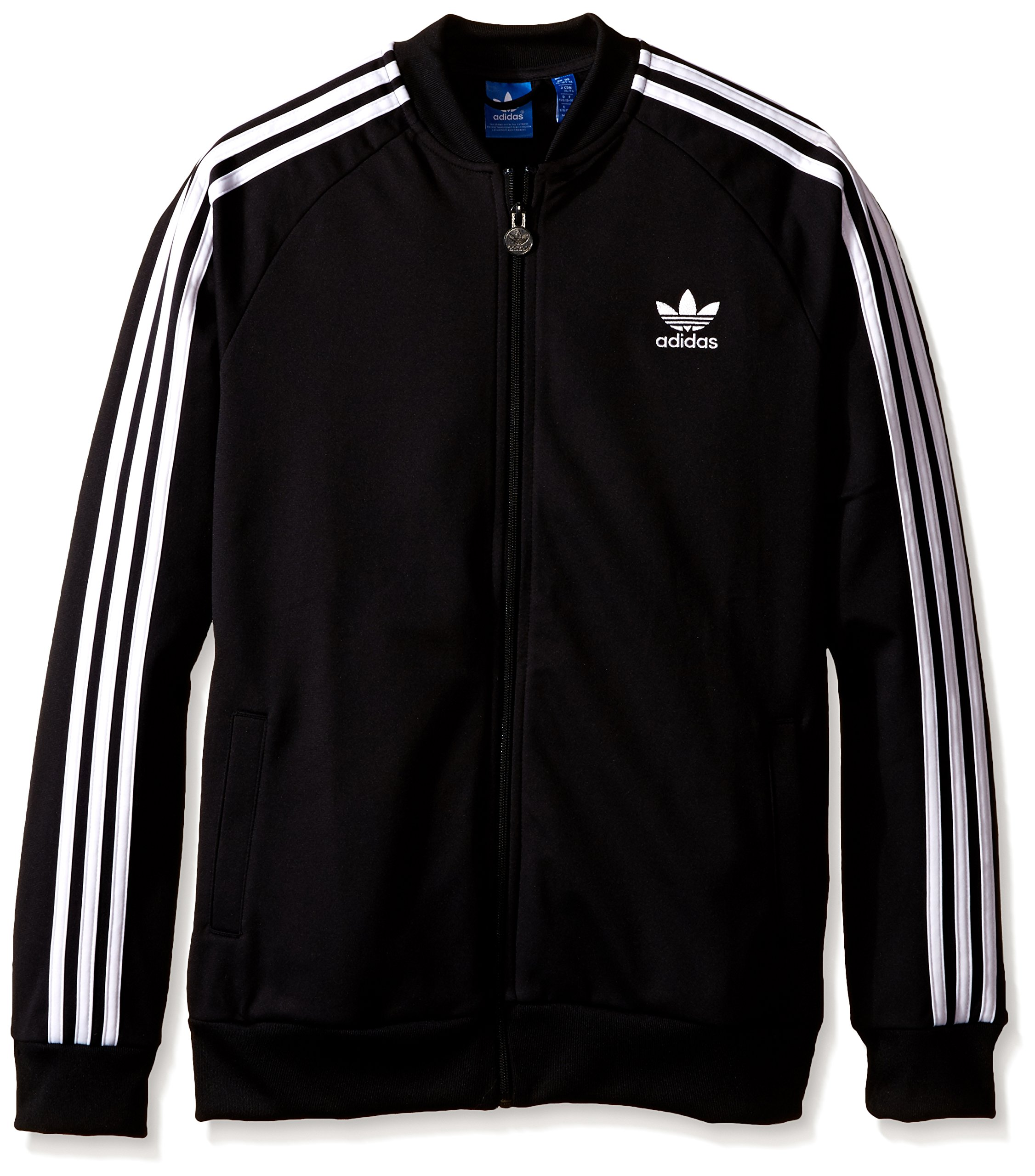 adidas Originals Boys' Superstar Track Top, Black, X-Small by adidas Originals