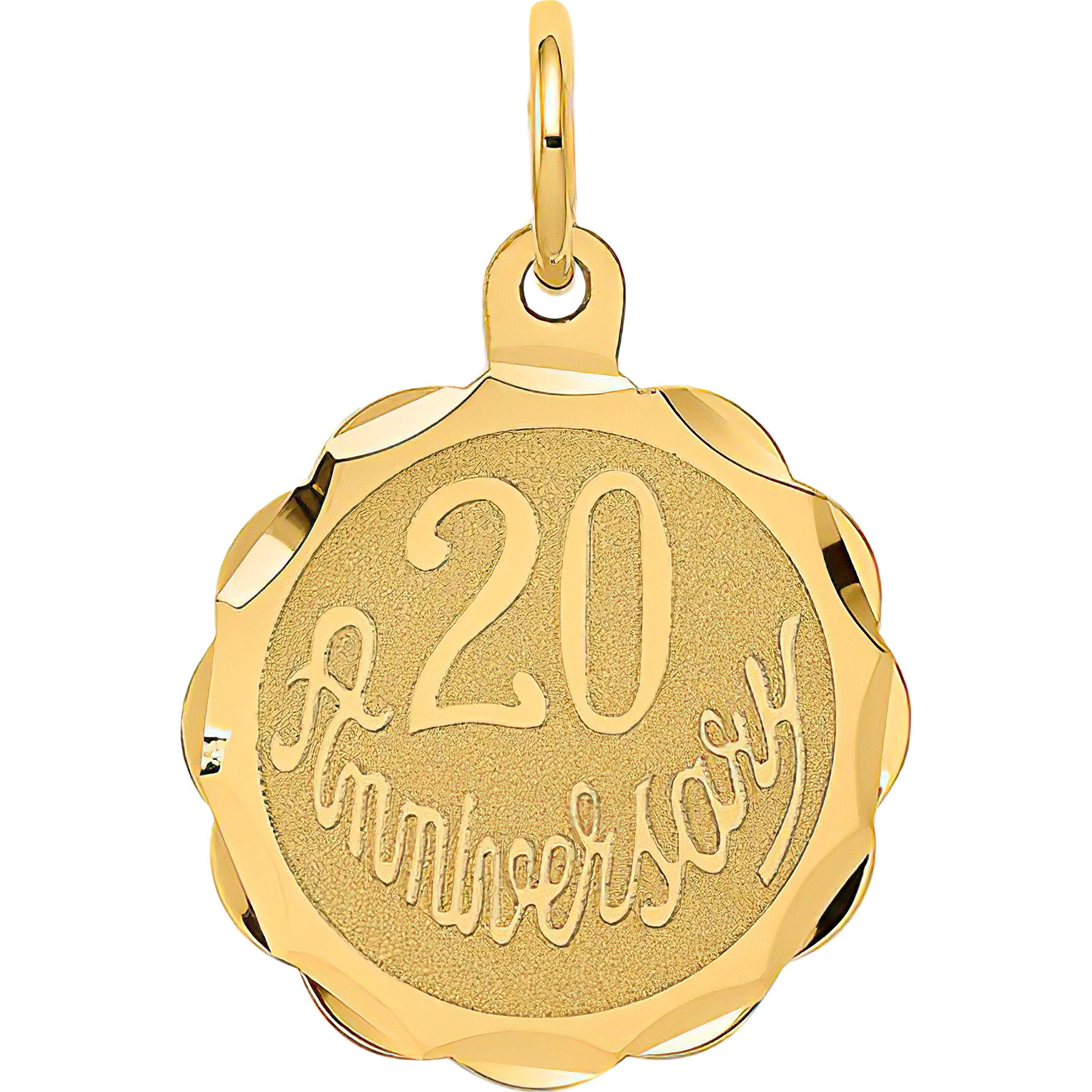 14K Yellow Gold Happy 20th Anniversary Disc Charm