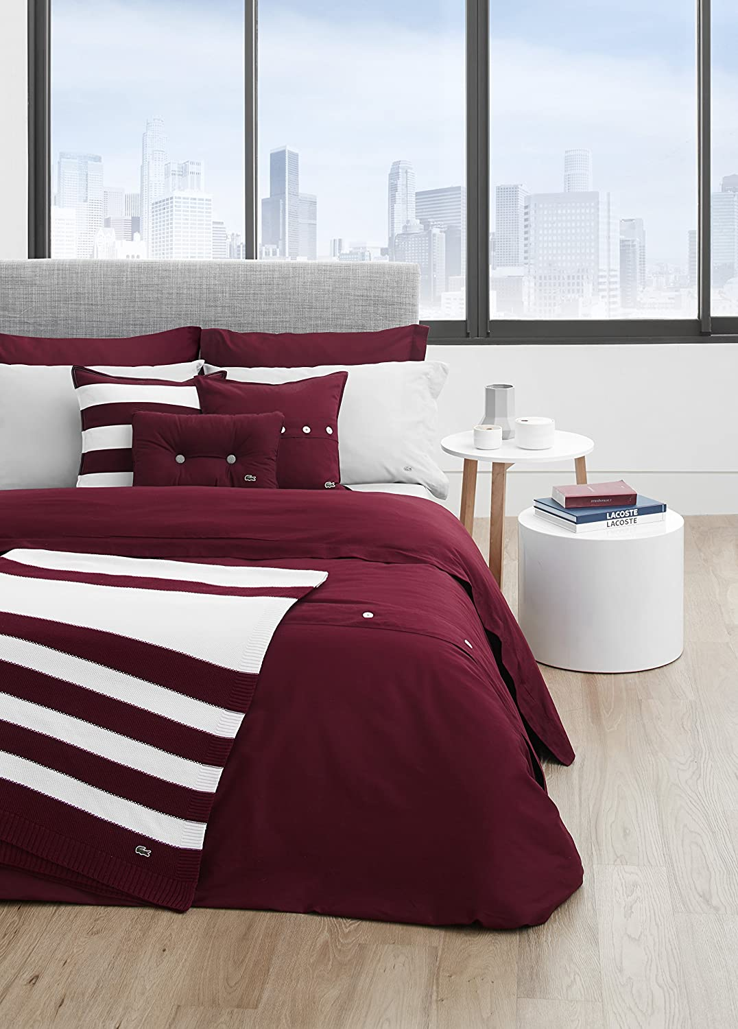 amazon com lacoste brushed twill solid comforter set king