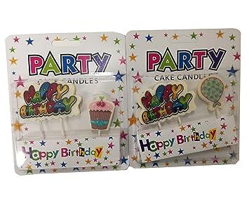 Takestop® - Juego de 2 velas de cera de feliz cumpleaños ...