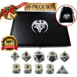 Metal Polyhedral Dice Set, 7 + 3 Extra d6's = 10 Piece Dice Set, Brushed Silver Finish, Leatherette Display Case & Velvet Carry Bag. Great For RPG, D&D. Heavy In Your Hand, And Made To Last!
