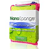 Nano Sponge Kitchen Cleaning Sponges. Everyday, Medium Sized, Heavy Duty Household Kitchen and Dish Sponge. 2 Pack. 4.5 x 3""