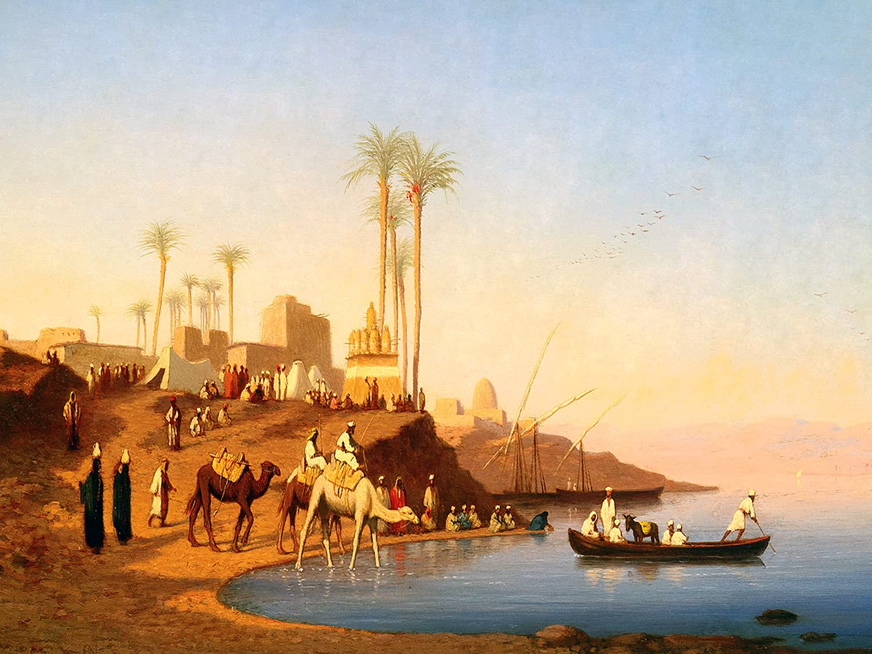Passage Of Nile C Frere Camel Palms Egypt Tile Mural Backsplash