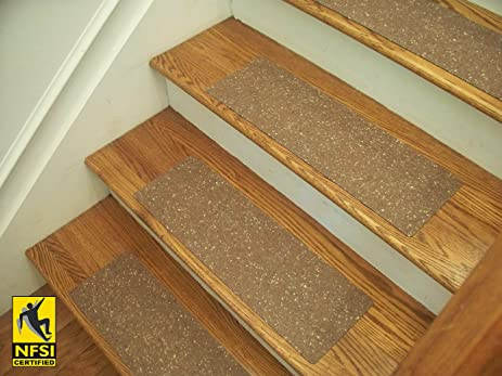Essential Vinyl Stair Treads   NFSI Certified High Traction Surface (Slip  Resistant), Peel