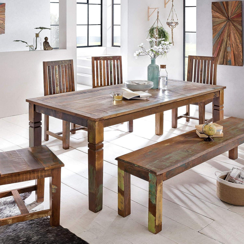 FineBuy Esszimmertisch KALKUTTA 455 x 455 x 455 cm  Massivholz Esstisch für  45-45 Personen  Küchentisch Bootsholz Shabby Chic  Tisch Esszimmer