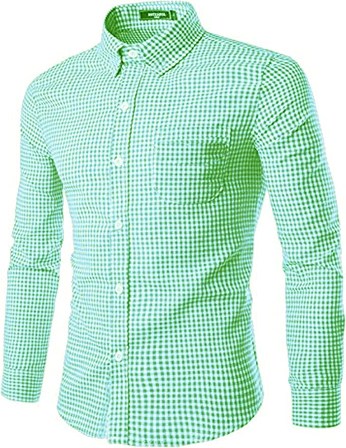 Mens Long Sleeve Cotton Plaid Classic Shirt Buttoon Down Dress Shirt