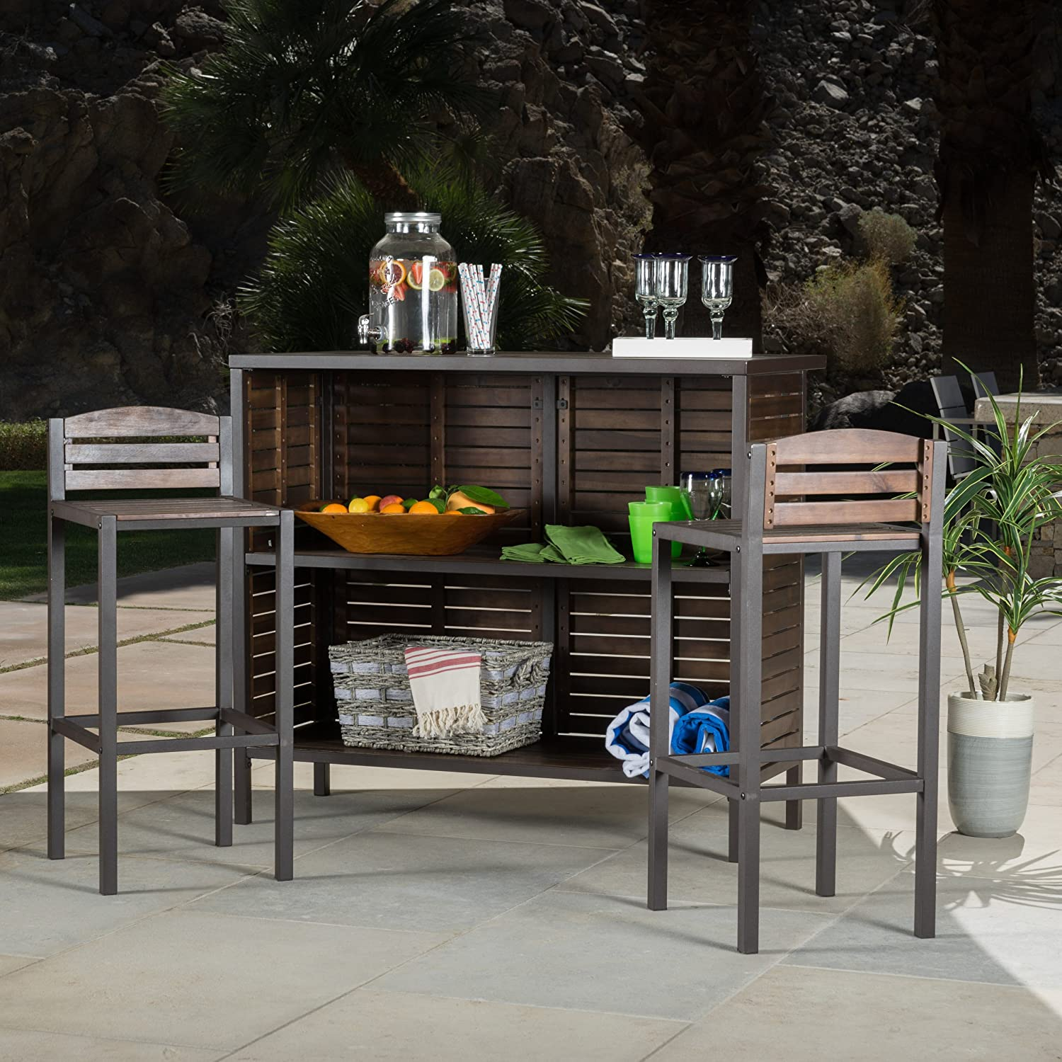 Amazon Bistro Bar Modern Rustic Brown Outdoor 3 Piece Milos