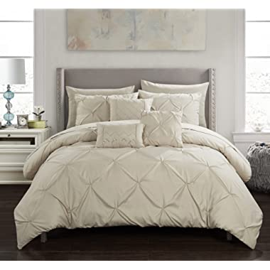 Chic Home Hannah 10 Piece Comforter Complete Bag Pinch Pleated Ruffled Pintuck Bedding with Sheet Set and Decorative Pillows Shams Included, King Taupe