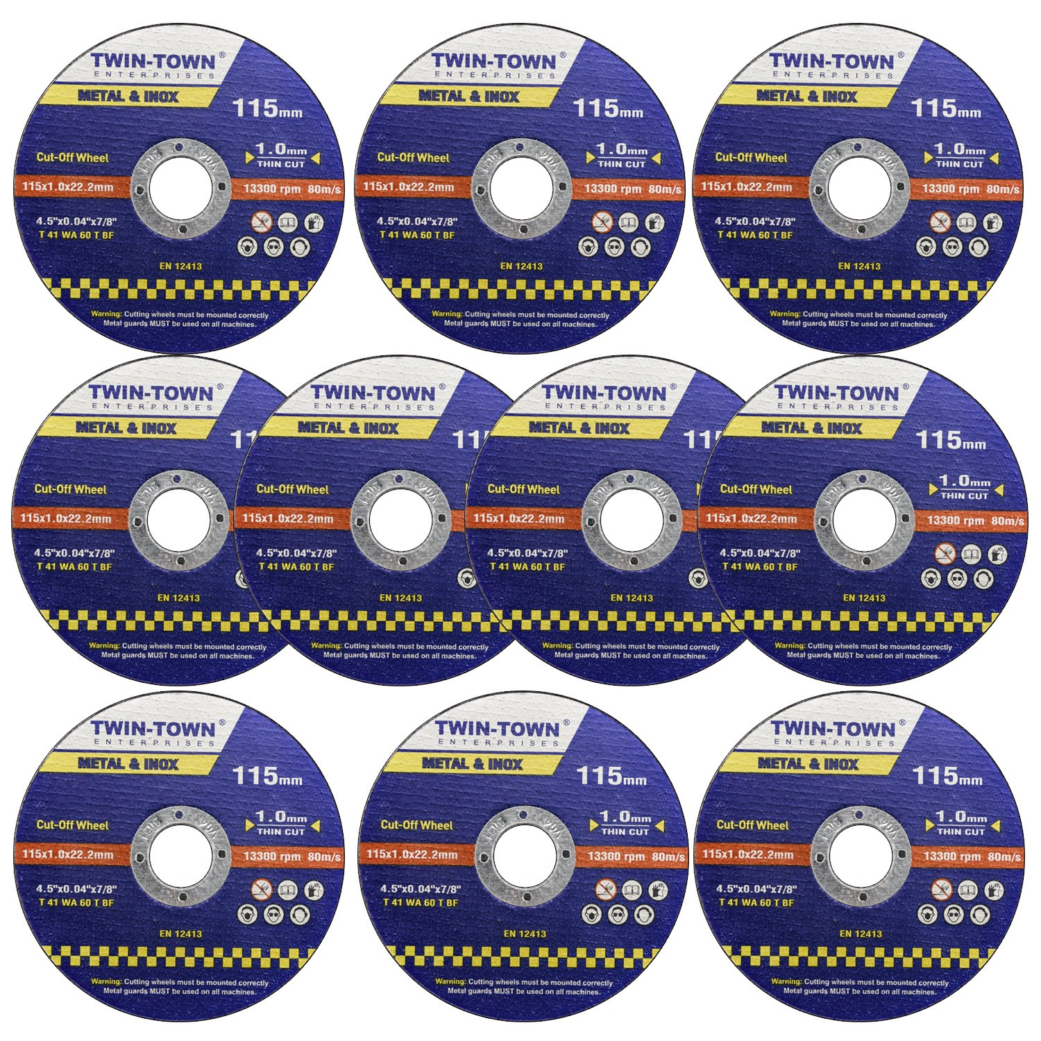 TWIN-TOWN 10 Pack - 4 1 2 Cutting Wheels - Cutting For Metal & Stainless Steel/INOX - 4-1/2'' x .045 x 7/8-Inch   Flat Cutting Disc