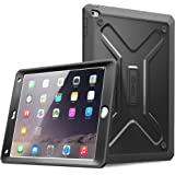 IPad Air 2 Hülle - Poetic iPad Air 2 Hülle [Revolution Series] - [Heavy Duty] [Dual Layer] [Bildschirm Schild] Protective hybriden Kasten mit eingebautem Display Schutz für Apple iPad Air 2 Schwarz (3 Jahre Herstellergarantie von Poetic)